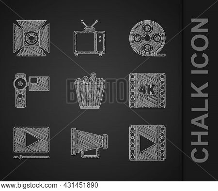 Set Popcorn In Box, Megaphone, Play Video, 4k Movie, Tape, Frame, Online Play Video, Cinema Camera,
