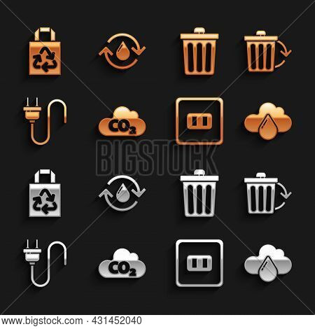 Set Co2 Emissions In Cloud, Recycle Bin With Recycle, Cloud Rain, Electrical Outlet, Plug, Trash Can