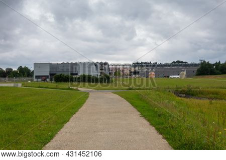 Transinne, Wallonia, Belgium - August 10, 2021: Euro Space Center And Galileo Ils Centre Buildings S