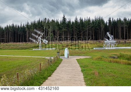Transinne, Wallonia, Belgium - August 10, 2021: Euro Space Center. Uranus Symbol And The Planck Mock
