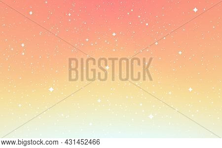 Cosmos Flat Background. Cartoon Space With White Stars. Orange Starry Sky. Minimal Cosmic Wallpaper