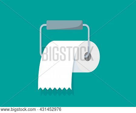 Roll Of Toilet Paper On Holder. Icon In Flat Style For Bathroom, Kitchen And Wc. Clean Tissue Towel