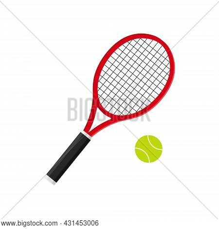 Tennis Racket With Ball. Icon Of Racquet For Court. Logo Of Tennis Rocket And Ball Isolated On White