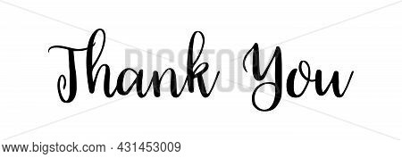 Thank You. Calligraphy Text For Card. Typography Font For Lettering. Calligraphic Script Isolated On