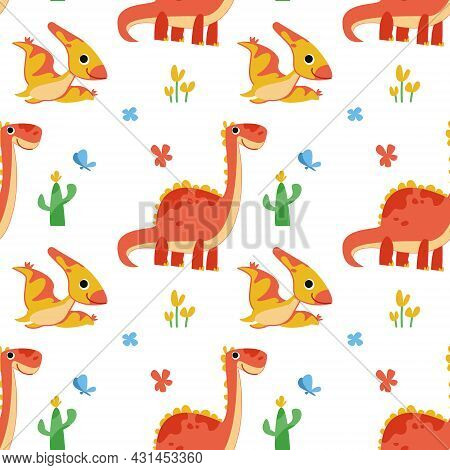 Seamless Pattern With Cute Cartoon Dinosaurs And Pterodactyls. Colorful Orange Prehistoric Lizards I