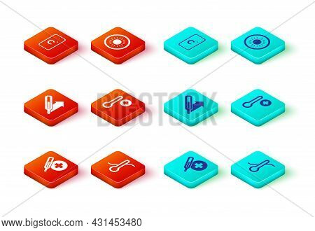 Set Medical Thermometer, Meteorology, Sun And Celsius Icon. Vector