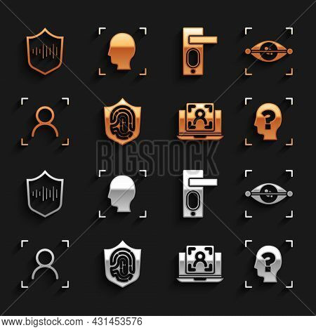 Set Fingerprint In Shield, Eye Scan, Face Recognition, Laptop With Face, Door Lock, Shield Voice And