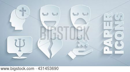 Set Broken Heart Or Divorce, Drama Theatrical Mask, Psychology, Psi, Solution To Problem, Comedy And