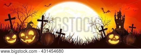 Halloween Pumpkins On Cemetery. Orange Night Background. Banner With Jack O' Lanterns, Castle, Bats
