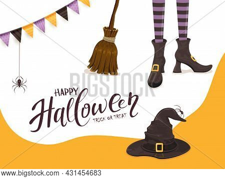 Background With Lettering Happy Halloween And Trick Or Treat. Black Spiders And Witches Legs In Shoe