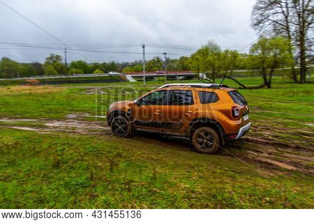 Moscow, Russia - May 08, 2021 Renault Duster Second Generation Exterior View In Motion. Compact Suv