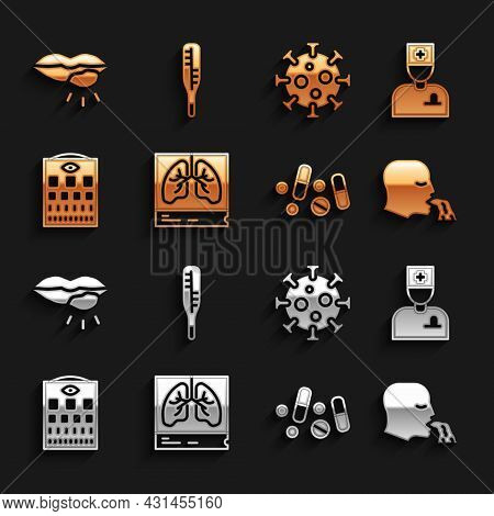 Set Lungs X-ray, Male Doctor, Vomiting Man, Medicine Pill Tablet, Eye Test Chart, Virus, Herpes Lip