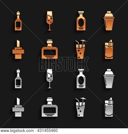 Set Whiskey Bottle, Cocktail Shaker, Bloody Mary, Wooden Cork For Wine, Alcohol Drink Rum, Champagne
