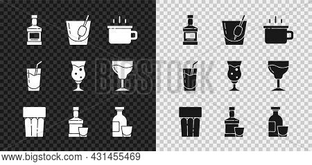 Set Whiskey Bottle, Cocktail Bloody Mary, Coffee Cup, Glass With Water, And Glass, Alcohol Drink Rum