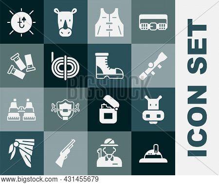 Set Hunter Hat, Hippo Or Hippopotamus, Sniper Optical Sight, Hunting Jacket, Climber Rope, Cartridge