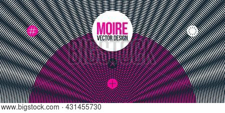 Abstract Vector Background Made With Linear Moire, Op Art Effect Surreal Texture, Sound And Music Wa