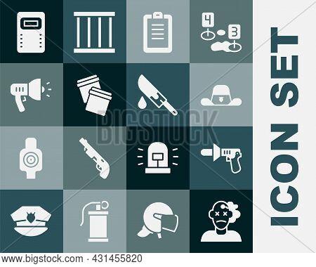 Set Murder, Police Megaphone, Sheriff Hat With Badge, Report, Plastic Bag Ziplock, Assault Shield An