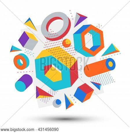 Colorful 3d Shapes Vector Composition Isolated On White Background, Bright Positive Dimensional Desi