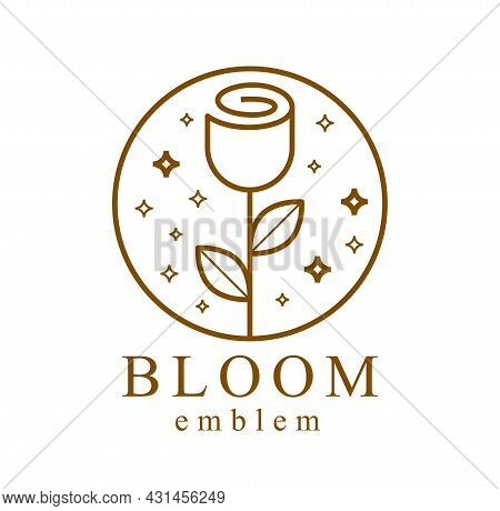 Geometric Linear Style Vector Flower Logo Or Emblem Isolated On White, Sacred Geometry Floral Symbol