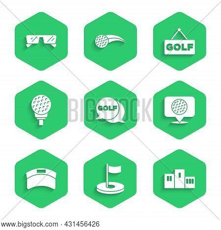 Set Golf Label, Hole With Flag, Award Over Sports Winner Podium, Sun Visor Cap, Ball On Tee, And Gla