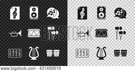 Set Treble Clef, Stereo Speaker, Music Note, Tone, Sound Mixer Controller, Ancient Lyre, Drum, Trump