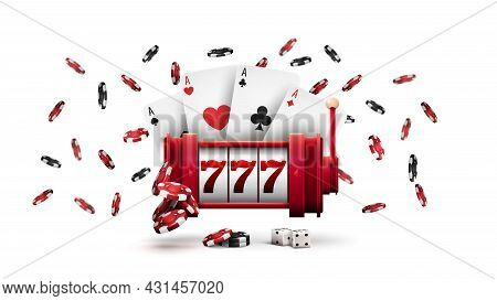 Casino Red Slot Machine With Poker Chips And Playing Cards Isolated On White Background. Big Win In