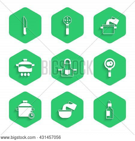 Set Kitchen Apron, Saucepan, Bottle Of Olive Oil, Fried Eggs Frying, Cooking Pot, And Knife Icon. Ve