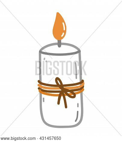 Burning Aroma Candle Isolated On White Background. Cute Vector Hand-drawn Illustration In Doodle Sty