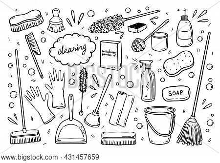 Set Of Various Items For Cleaning - Mops, Brooms, Brushes, Detergents And Others. Work Equipment For