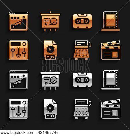 Set Mov File Document, Makeup Mirror With Lights, Movie Clapper, Retro Typewriter, Sound Mixer Contr