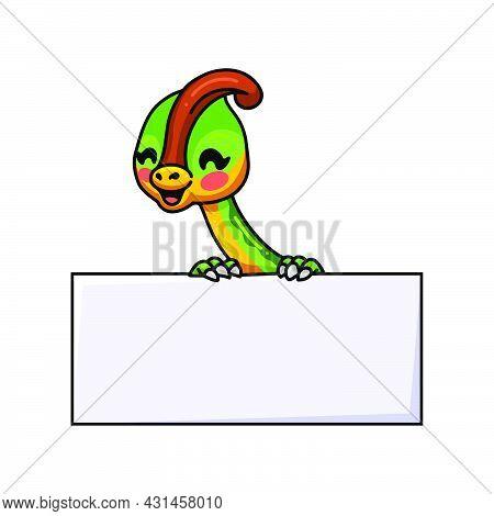 Cute Little Parasaurolophus Dinosaur Cartoon With Blank Sign