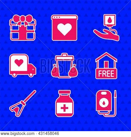 Set Trash Can, Medicine Bottle And Pills, Blood Donation, Free Home Delivery, Mop, Delivery Truck Wi
