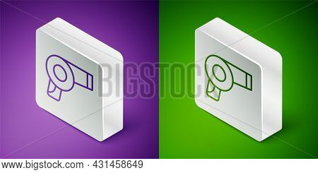 Isometric Line Hair Dryer Icon Isolated On Purple And Green Background. Hairdryer Sign. Hair Drying