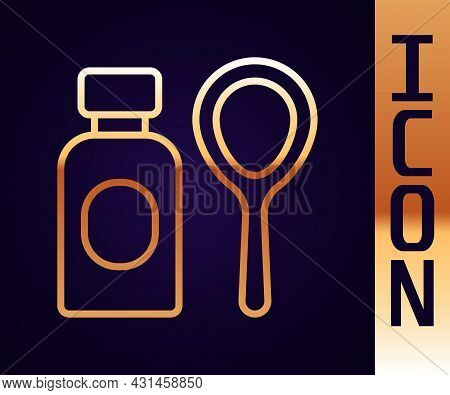 Gold Line Soap Bubbles Bottle Icon Isolated On Black Background. Blowing Bubbles Soap Wand Bottle. V