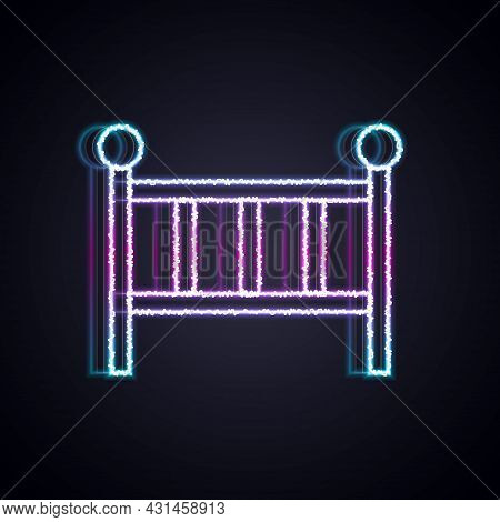 Glowing Neon Line Baby Crib Cradle Bed Icon Isolated On Black Background. Vector