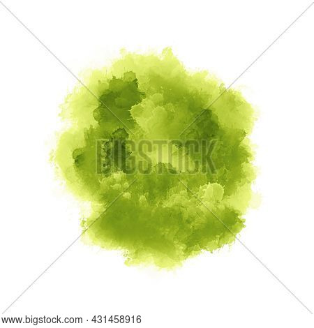 Modern Painting Yellow Light Green Shades Gradient Arbitrary Ink Brushstrokes Isolated On White Surf