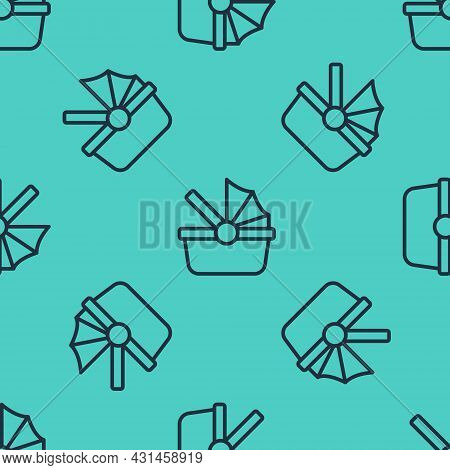 Black Line Baby Stroller Icon Isolated Seamless Pattern On Green Background. Baby Carriage, Buggy, P