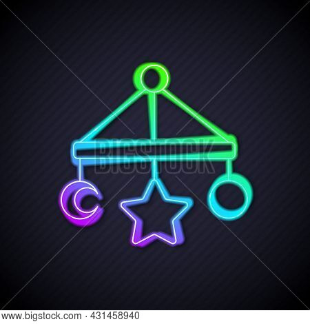 Glowing Neon Line Baby Crib Hanging Toys Icon Isolated On Black Background. Baby Bed Carousel. Vecto