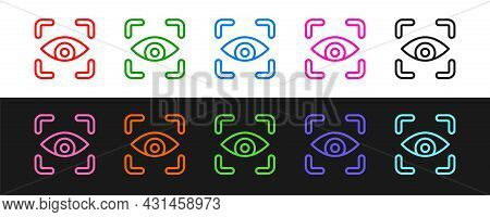 Set Line Eye Scan Icon Isolated On Black And White Background. Scanning Eye. Security Check Symbol.