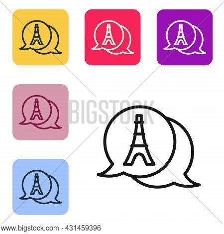 Black Line Eiffel Tower Icon Isolated On White Background. France Paris Landmark Symbol. Set Icons I