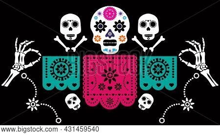 Dia De Los Muertos, Day Of The Dead Or Mexican  Halloween Greeting Card,  Banner. Sugar  Skulls  And