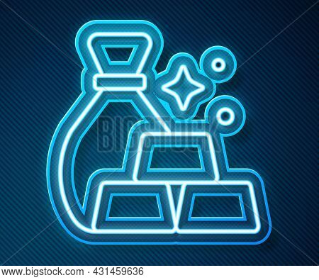 Glowing Neon Line Bag Of Gold Bars Icon Isolated On Blue Background. Sack With Golden Bars. Vector