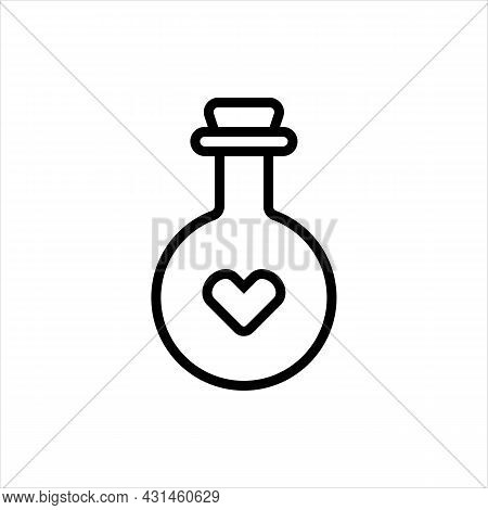 Pixel Perfect Black Thin Line Icon Of A Healing Heart Potion. Editable Stroke Vector 64x64 Pixel. Sc