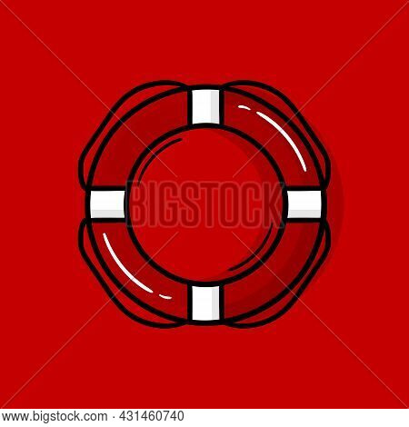 Hand Drawn Illustration Of A Rescue Buoy On A Red Background