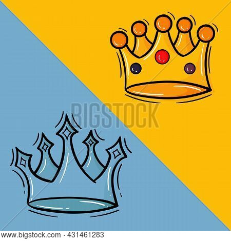 Hand Drawn Illustration Of The King And Queens Crown In Color, The King's Crown Is Gold And The Quee