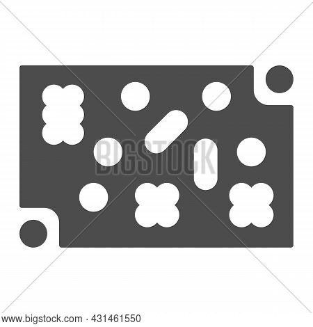 Printed Circuit Board With Fastening Elements Solid Icon, Electronics Concept, Pcb Vector Sign On Wh
