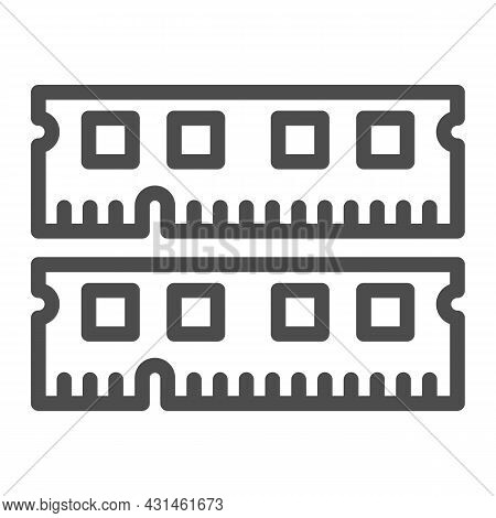 Ram Module Line Icon, Electronics Concept, Memory Module Fragments Vector Sign On White Background,