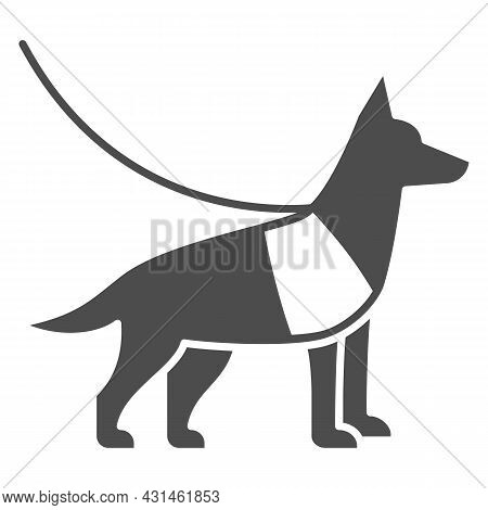 Sniffer Police Dog, Shepherd On Leash Solid Icon, Security Check Concept, Service Dog Vector Sign On