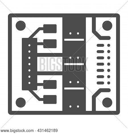 Printed Circuit Board With Mounting Slots Solid Icon, Electronics Concept, Pcb Vector Sign On White