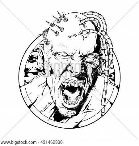Cyborg Zombie Detailed Hand Drawing Vector Illustration